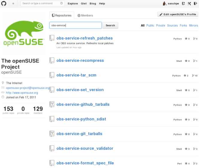 github openSUSE services